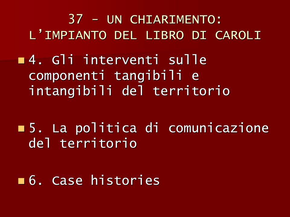 37 - UN CHIARIMENTO: L'IMPIANTO DEL LIBRO DI CAROLI 4. Gli interventi sulle componenti tangibili e intangibili del territorio 4. Gli interventi sulle