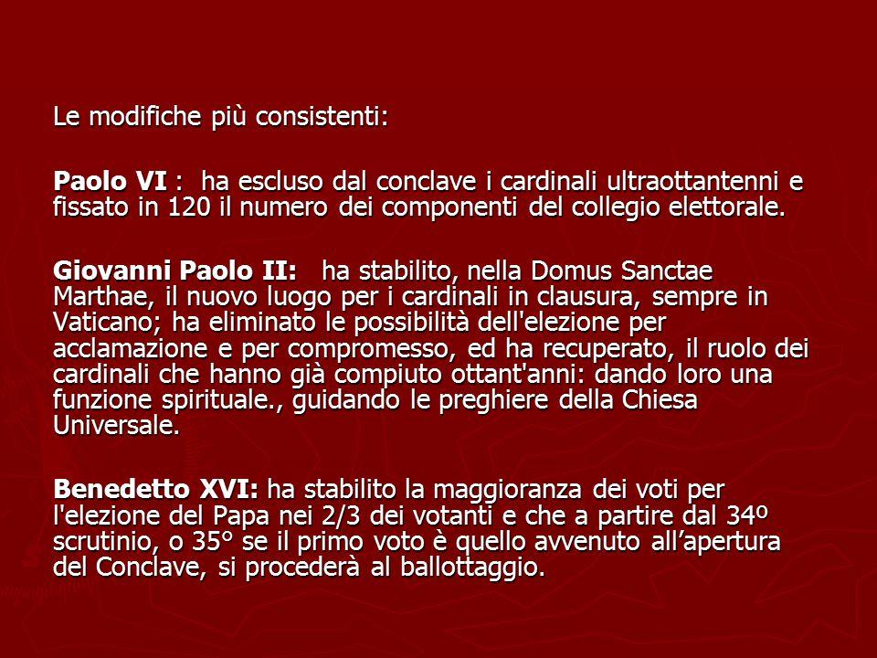 Le modifiche più consistenti: Paolo VI : ha escluso dal conclave i cardinali ultraottantenni e fissato in 120 il numero dei componenti del collegio el