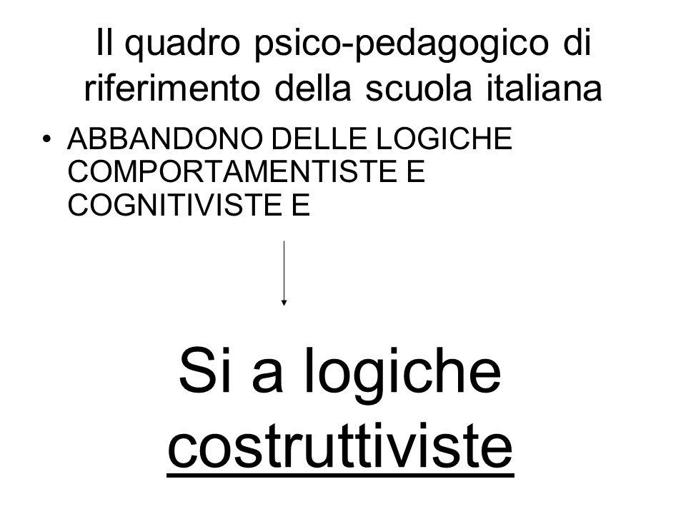 Il quadro psico-pedagogico di riferimento della scuola italiana ABBANDONO DELLE LOGICHE COMPORTAMENTISTE E COGNITIVISTE E Si a logiche costruttiviste