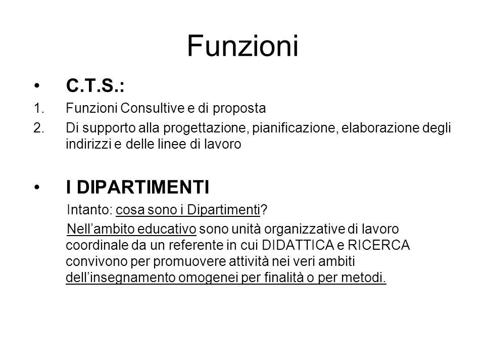 Funzioni C.T.S.: 1.Funzioni Consultive e di proposta 2.Di supporto alla progettazione, pianificazione, elaborazione degli indirizzi e delle linee di lavoro I DIPARTIMENTI Intanto: cosa sono i Dipartimenti.