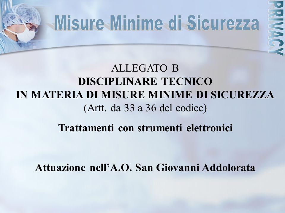 ALLEGATO B DISCIPLINARE TECNICO IN MATERIA DI MISURE MINIME DI SICUREZZA (Artt. da 33 a 36 del codice) Trattamenti con strumenti elettronici Attuazion