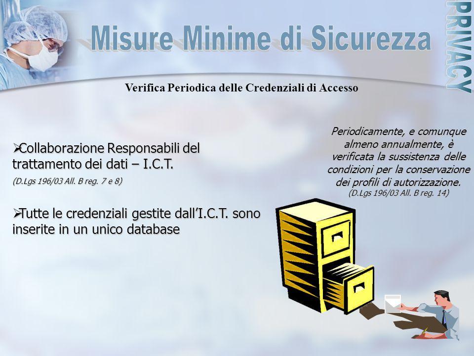  Collaborazione Responsabili del trattamento dei dati – I.C.T. (D.Lgs 196/03 All. B reg. 7 e 8)  Tutte le credenziali gestite dall'I.C.T. sono inser