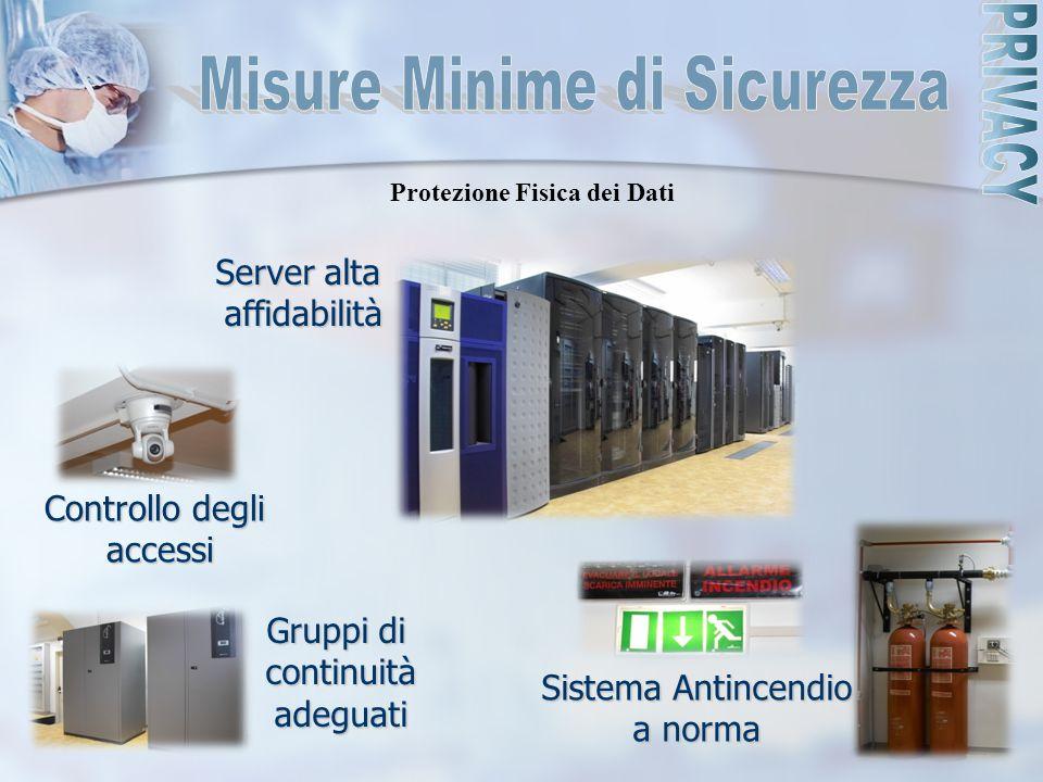 Server alta affidabilità Sistema Antincendio a norma Gruppi di continuitàadeguati Protezione Fisica dei Dati Controllo degli accessi