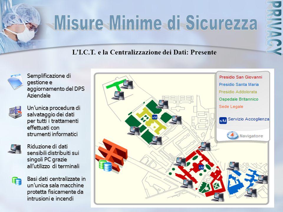 L'I.C.T. e la Centralizzazione dei Dati: Presente Semplificazione di gestione e aggiornamento del DPS Aziendale Un'unica procedura di salvataggio dei