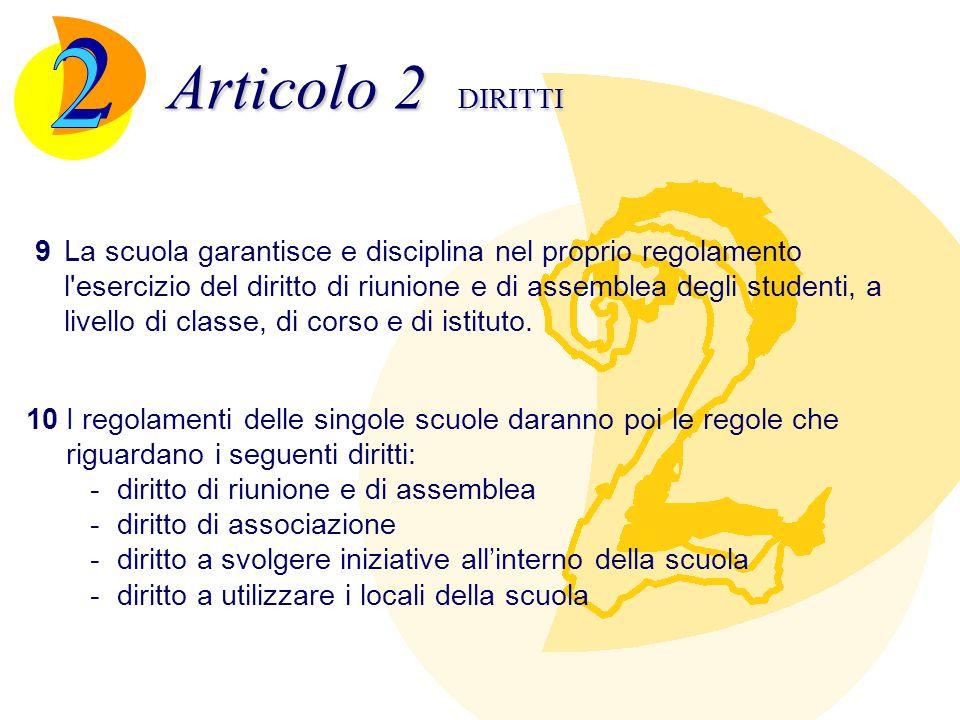 Articolo 2 DIRITTI 9La scuola garantisce e disciplina nel proprio regolamento l'esercizio del diritto di riunione e di assemblea degli studenti, a liv