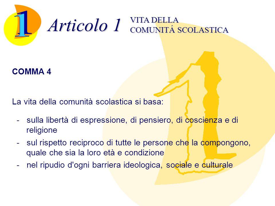 Articolo 1 COMUNITÁ SCOLASTICA VITA DELLA COMMA 4 La vita della comunità scolastica si basa: - sulla libertà di espressione, di pensiero, di coscienza