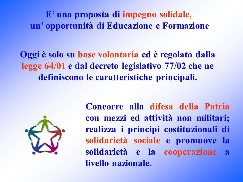 Oggi è solo su base volontaria ed è regolato dalla legge 64/01 e dal decreto legislativo 77/02 che ne definiscono le caratteristiche principali.
