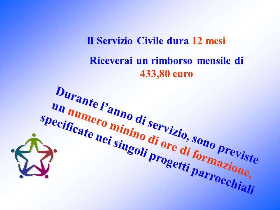Durante l'anno di servizio, sono previste un numero minino di ore di formazione, specificate nei singoli progetti parrocchiali Il Servizio Civile dura 12 mesi Riceverai un rimborso mensile di 433,80 euro
