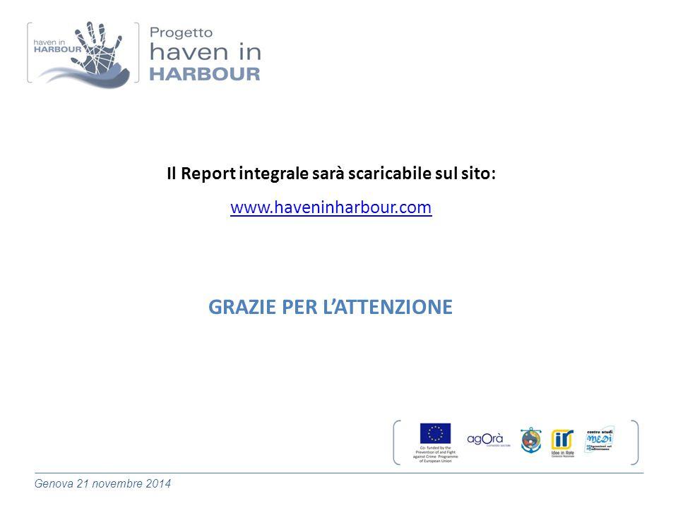 Genova 21 novembre 2014 Il Report integrale sarà scaricabile sul sito: www.haveninharbour.com GRAZIE PER L'ATTENZIONE