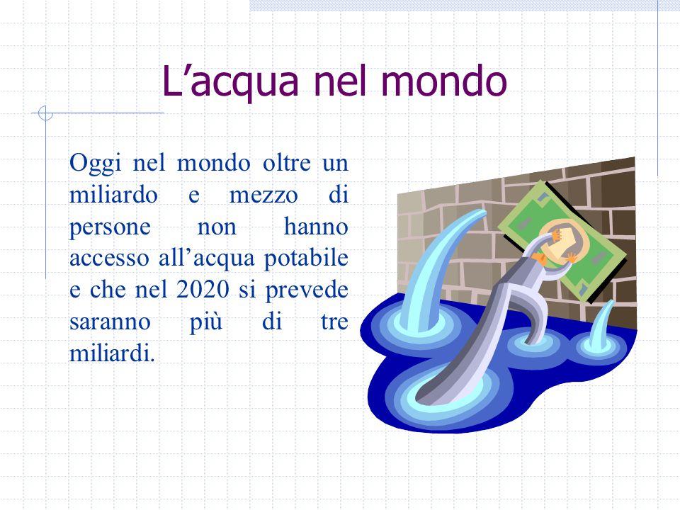 In Italia Il nostro è, in teoria, un paese ricco d'acqua dolce, avendo una disponibilità teorica di 155 miliardi di metri cubi d'acqua ogni anno, 2.700 ogni anno.