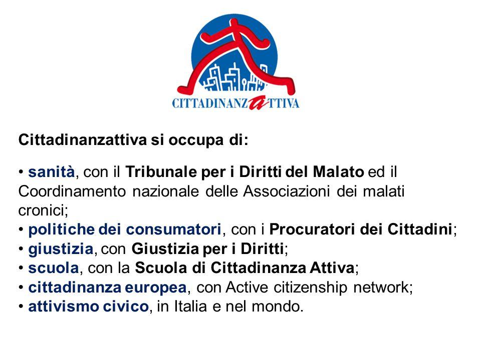 Cittadinanzattiva si occupa di: sanità, con il Tribunale per i Diritti del Malato ed il Coordinamento nazionale delle Associazioni dei malati cronici; politiche dei consumatori, con i Procuratori dei Cittadini; giustizia, con Giustizia per i Diritti; scuola, con la Scuola di Cittadinanza Attiva; cittadinanza europea, con Active citizenship network; attivismo civico, in Italia e nel mondo.