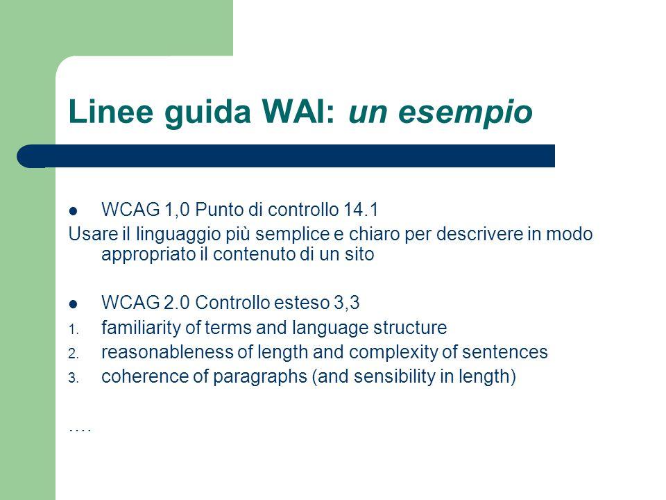 Linee guida WAI: un esempio WCAG 1,0 Punto di controllo 14.1 Usare il linguaggio più semplice e chiaro per descrivere in modo appropriato il contenuto di un sito WCAG 2.0 Controllo esteso 3,3 1.