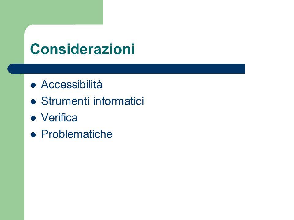 Considerazioni Accessibilità Strumenti informatici Verifica Problematiche