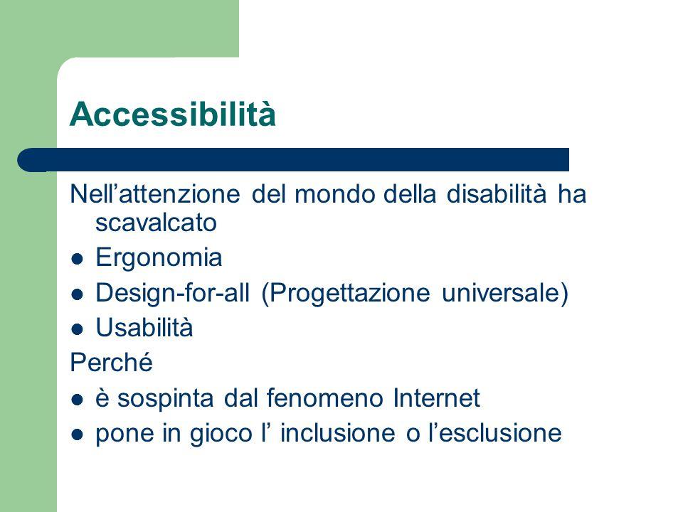 Accessibilità Nell'attenzione del mondo della disabilità ha scavalcato Ergonomia Design-for-all (Progettazione universale) Usabilità Perché è sospinta dal fenomeno Internet pone in gioco l' inclusione o l'esclusione
