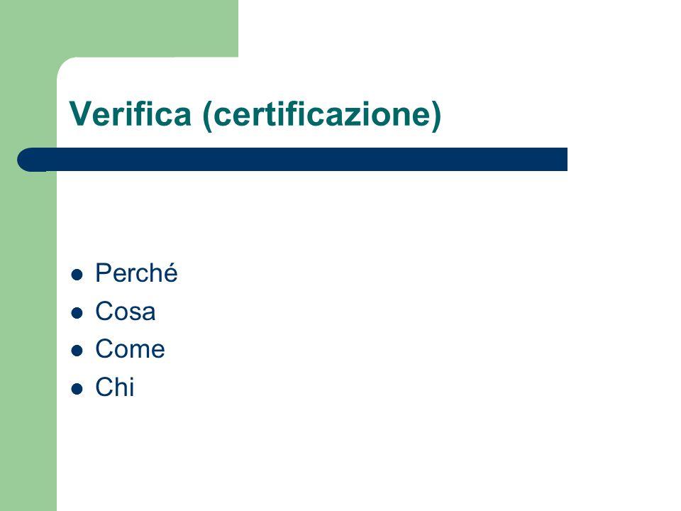 Verifica (certificazione) Perché Cosa Come Chi