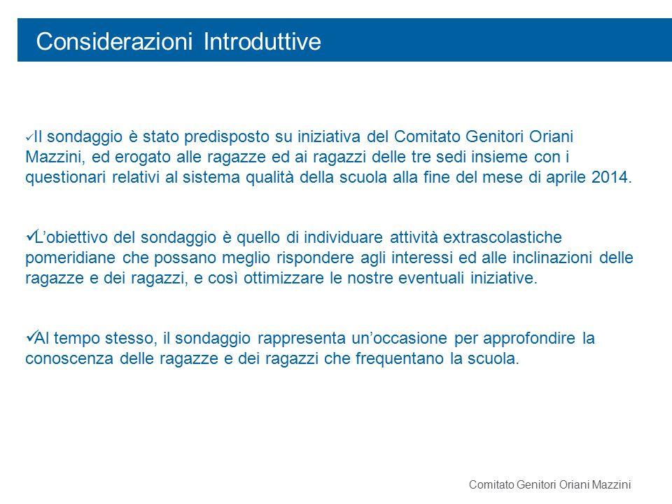 Considerazioni Introduttive Comitato Genitori Oriani Mazzini Il sondaggio è stato predisposto su iniziativa del Comitato Genitori Oriani Mazzini, ed e