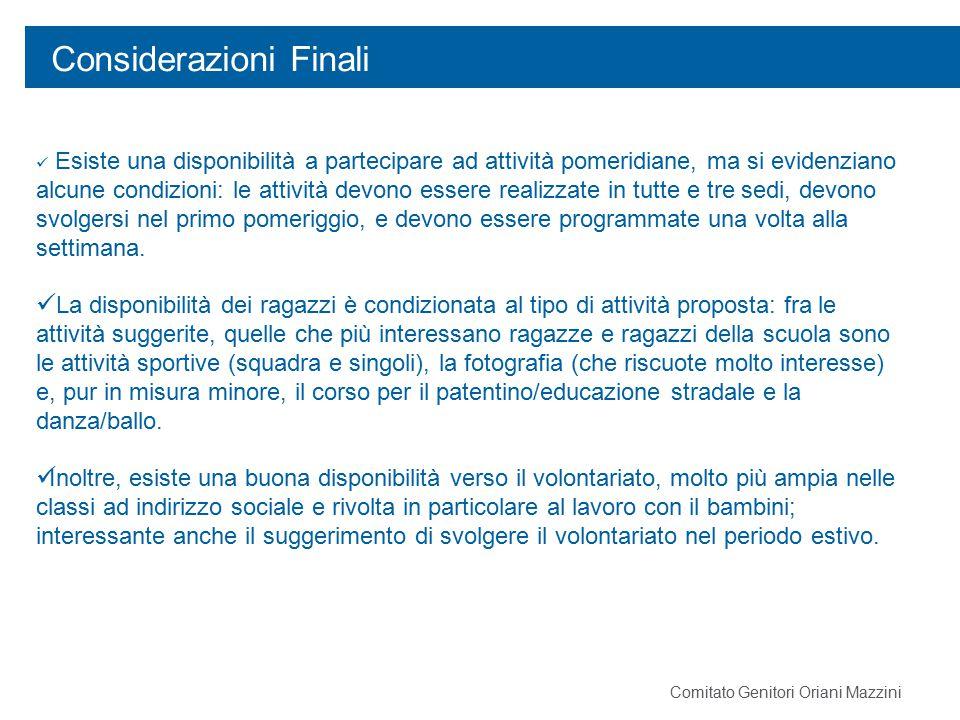 Considerazioni Finali Comitato Genitori Oriani Mazzini Esiste una disponibilità a partecipare ad attività pomeridiane, ma si evidenziano alcune condiz