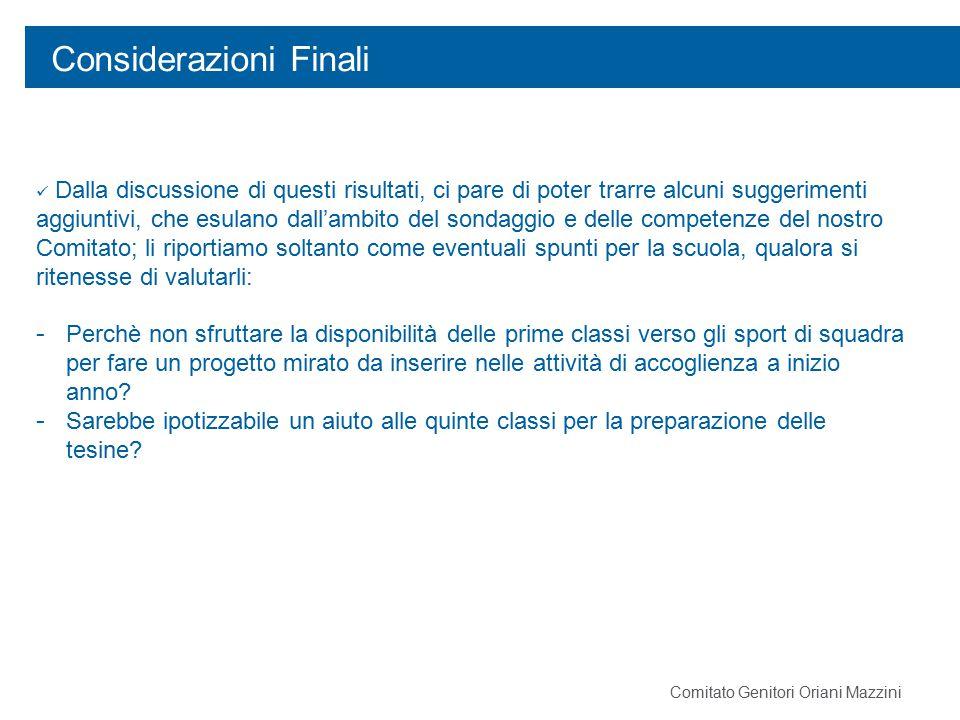 Considerazioni Finali Comitato Genitori Oriani Mazzini Dalla discussione di questi risultati, ci pare di poter trarre alcuni suggerimenti aggiuntivi,