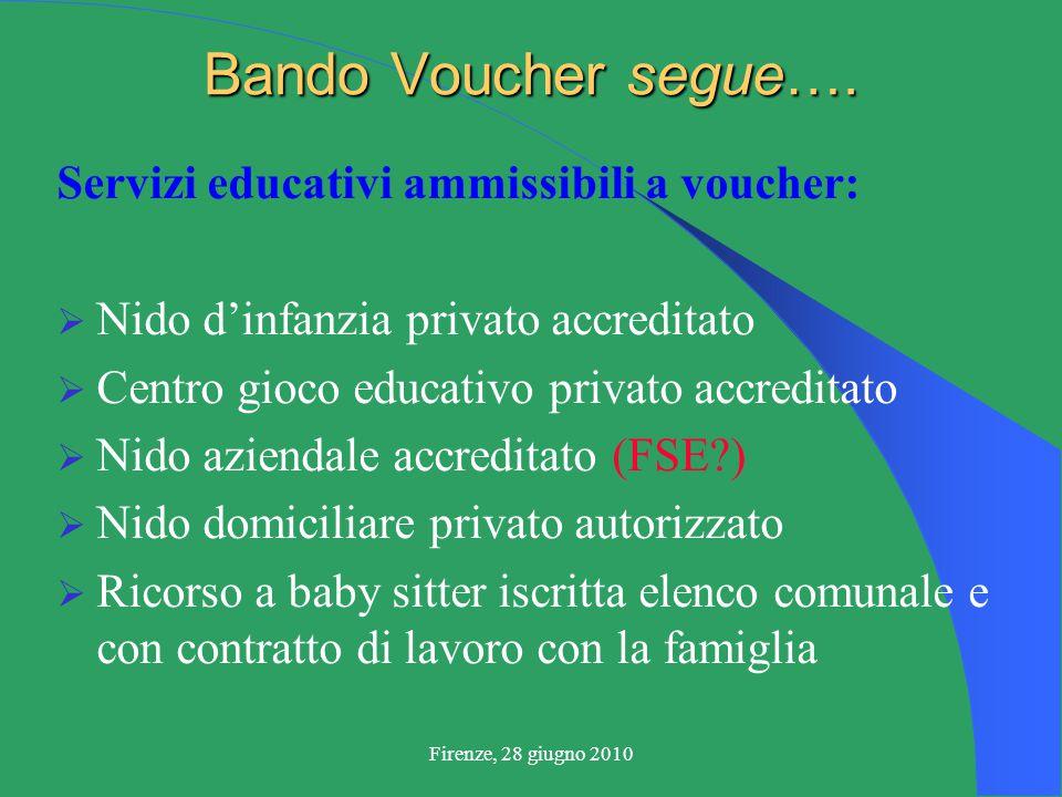Firenze, 28 giugno 2010 Bando Voucher segue….