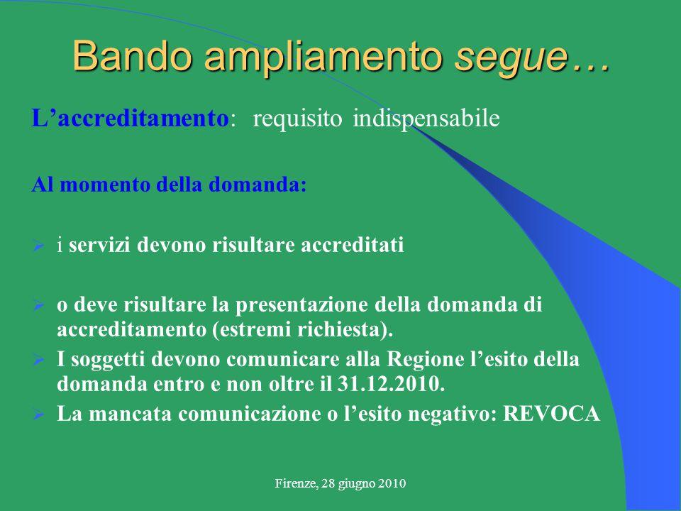 Firenze, 28 giugno 2010 Bando ampliamento segue… L'accreditamento: requisito indispensabile Al momento della domanda:  i servizi devono risultare accreditati  o deve risultare la presentazione della domanda di accreditamento (estremi richiesta).