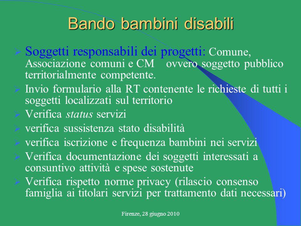 Firenze, 28 giugno 2010 Bando bambini disabili  Soggetti responsabili dei progetti: Comune, Associazione comuni e CM ovvero soggetto pubblico territorialmente competente.