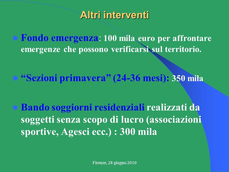 Firenze, 28 giugno 2010 Altri interventi Fondo emergenza: 100 mila euro per affrontare emergenze che possono verificarsi sul territorio.