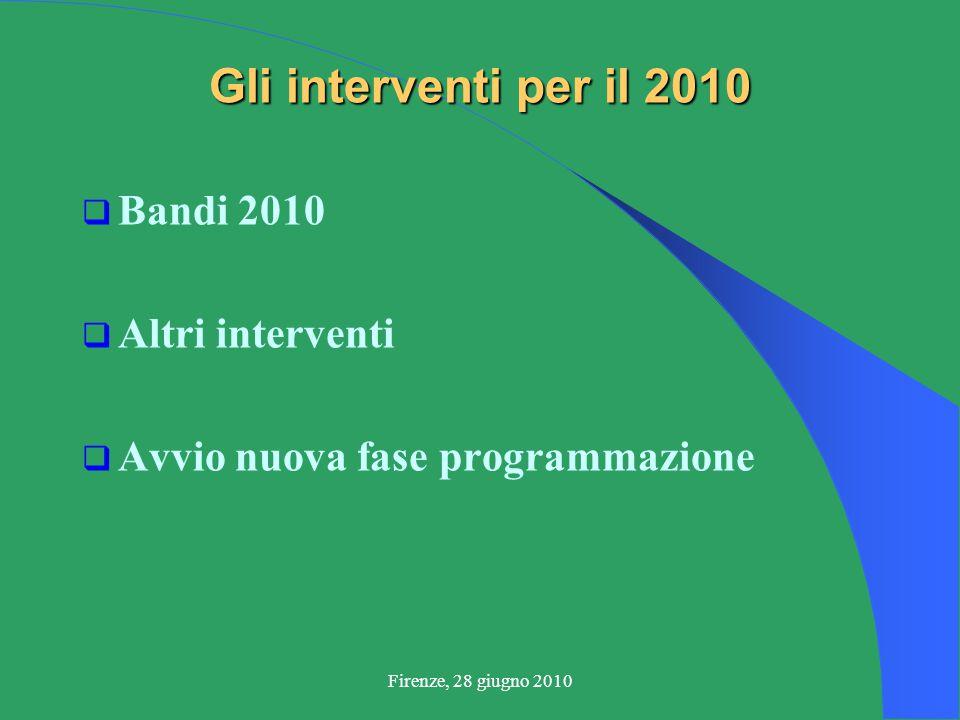 Firenze, 28 giugno 2010 Gli interventi per il 2010  Bandi 2010  Altri interventi  Avvio nuova fase programmazione
