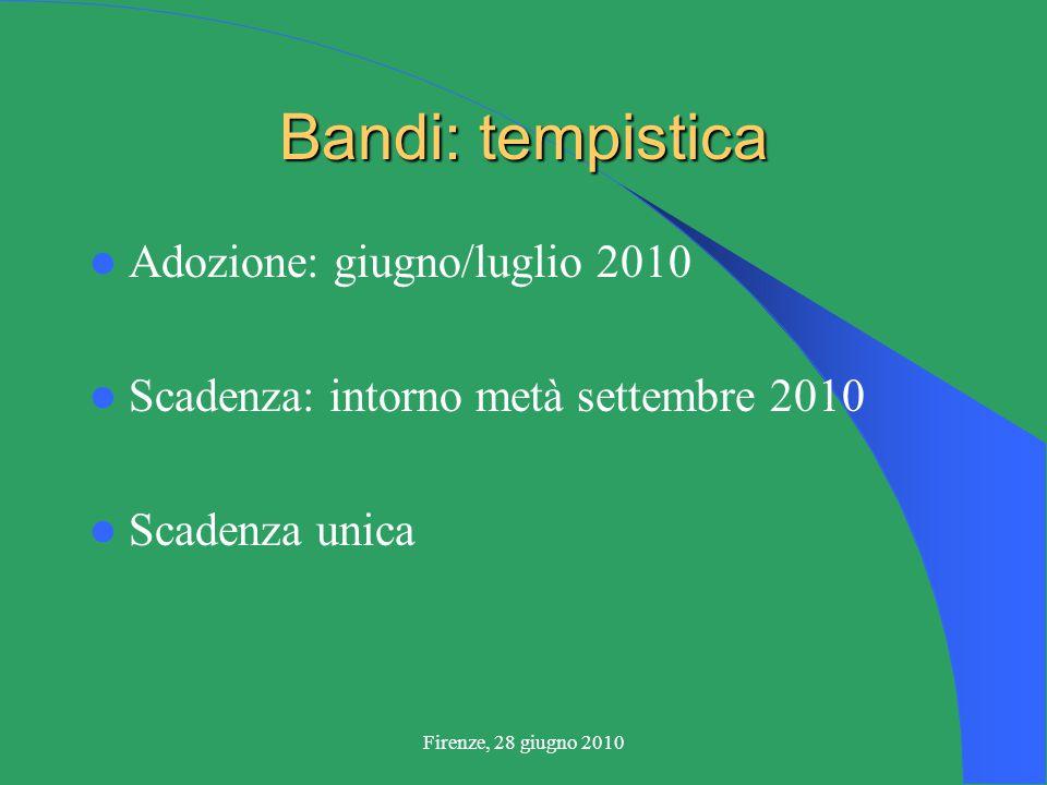 Firenze, 28 giugno 2010 Bandi: tempistica Adozione: giugno/luglio 2010 Scadenza: intorno metà settembre 2010 Scadenza unica