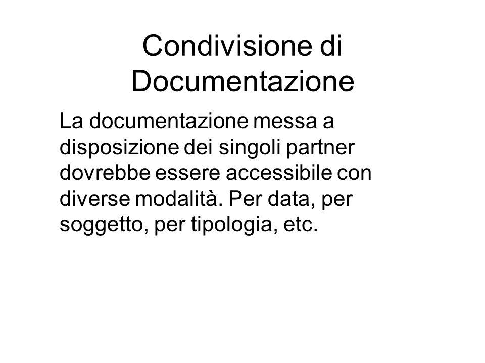 Condivisione di Documentazione La documentazione messa a disposizione dei singoli partner dovrebbe essere accessibile con diverse modalità.