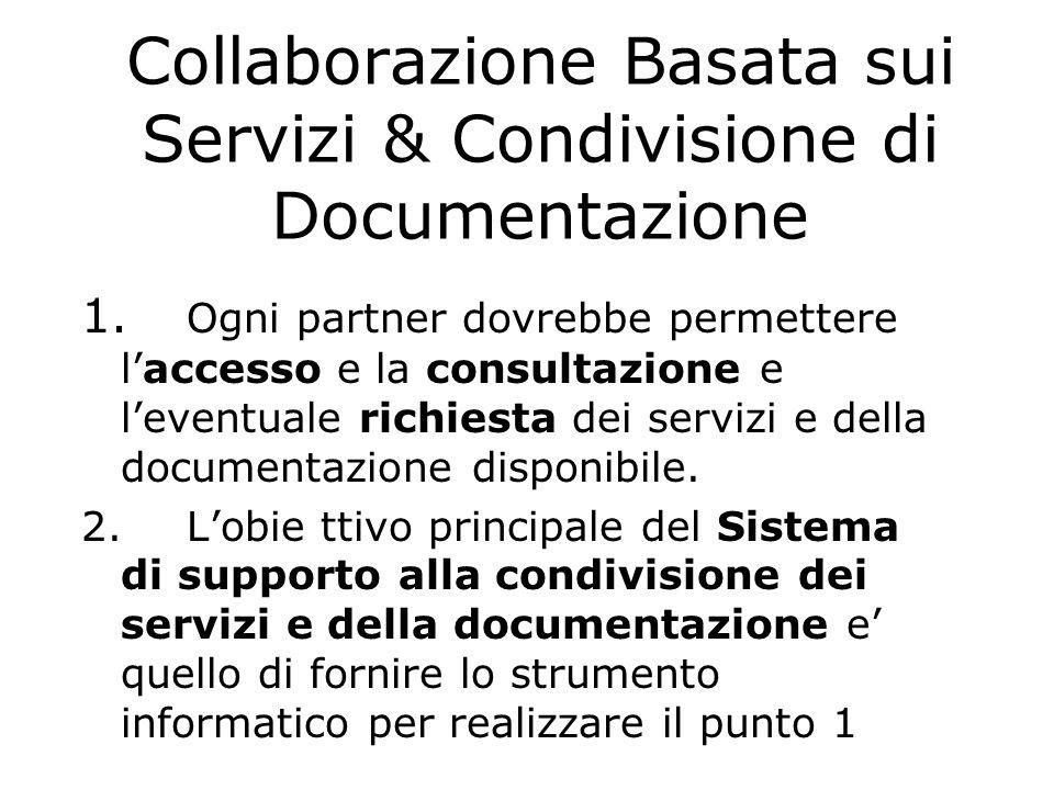 Condivisione di Documentazione La documentazione messa a disposizione dei singoli partner dovrebbe essere accessibile con diverse modalità. Per data,