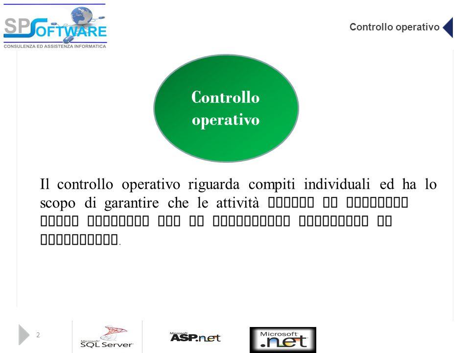 Controllo operativo 2 Il controllo operativo riguarda compiti individuali ed ha lo scopo di garantire che le attività svolte da ciascuno siano eseguit