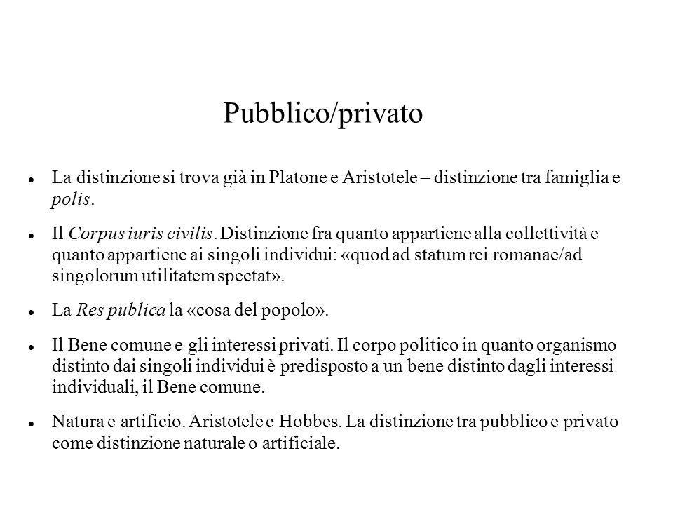 Pubblico/privato La distinzione si trova già in Platone e Aristotele – distinzione tra famiglia e polis. Il Corpus iuris civilis. Distinzione fra quan