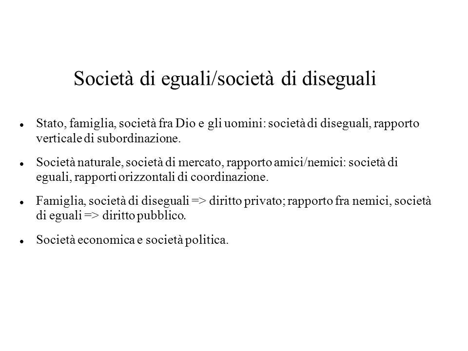 Società di eguali/società di diseguali Stato, famiglia, società fra Dio e gli uomini: società di diseguali, rapporto verticale di subordinazione. Soci
