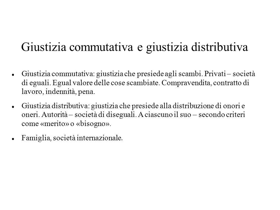 Giustizia commutativa e giustizia distributiva Giustizia commutativa: giustizia che presiede agli scambi. Privati – società di eguali. Egual valore de