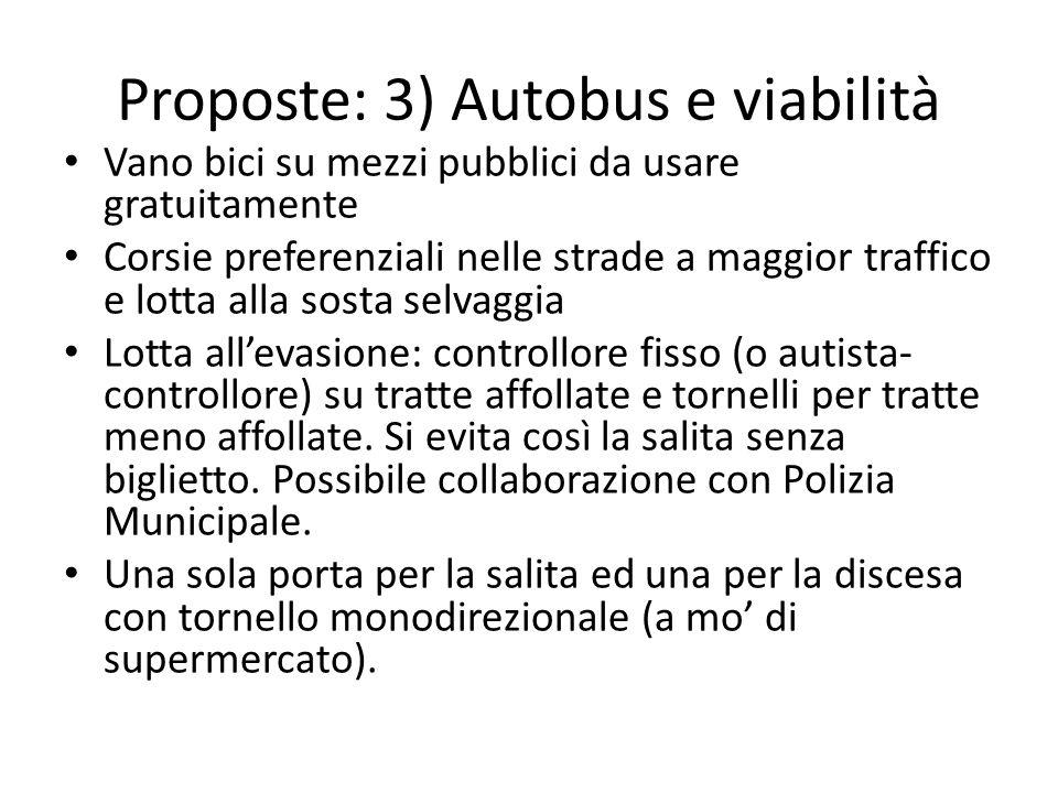 Proposte: 3) Autobus e viabilità Vano bici su mezzi pubblici da usare gratuitamente Corsie preferenziali nelle strade a maggior traffico e lotta alla