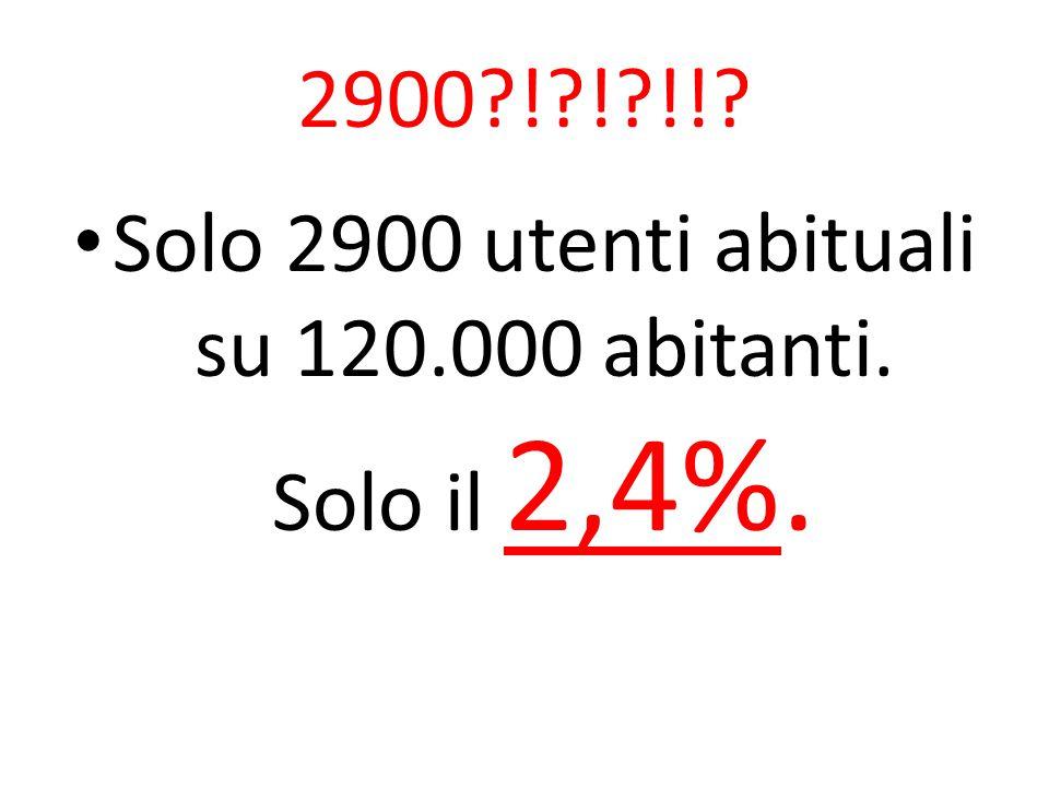 2900?!?!?!!? Solo 2900 utenti abituali su 120.000 abitanti. Solo il 2,4%.