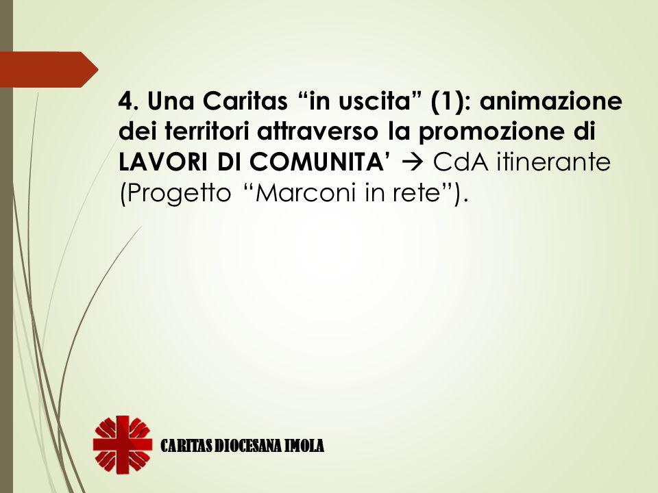 """4. Una Caritas """"in uscita"""" (1): animazione dei territori attraverso la promozione di LAVORI DI COMUNITA'  CdA itinerante (Progetto """"Marconi in rete"""")"""