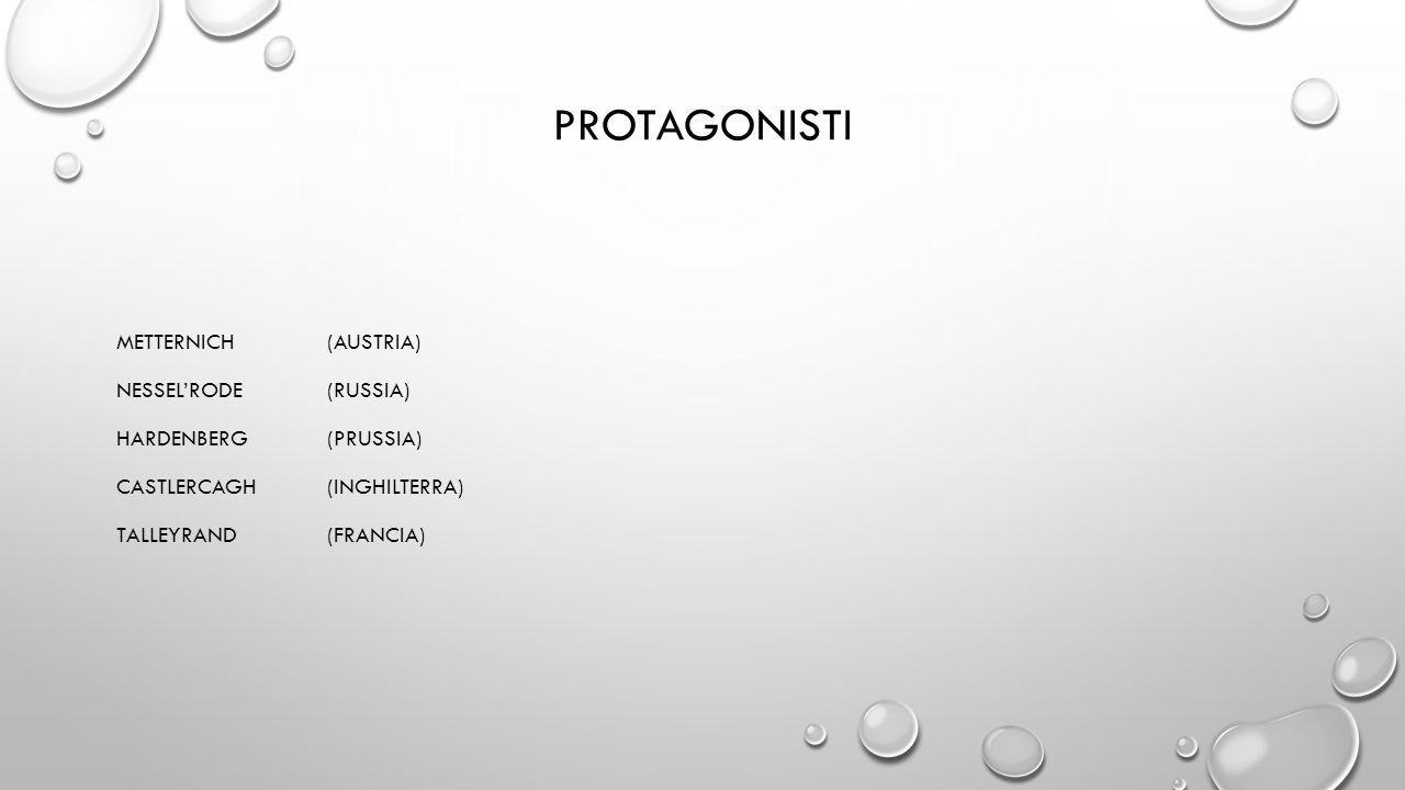 PROTAGONISTI METTERNICH (AUSTRIA) NESSEL'RODE(RUSSIA) HARDENBERG(PRUSSIA) CASTLERCAGH(INGHILTERRA) TALLEYRAND(FRANCIA)