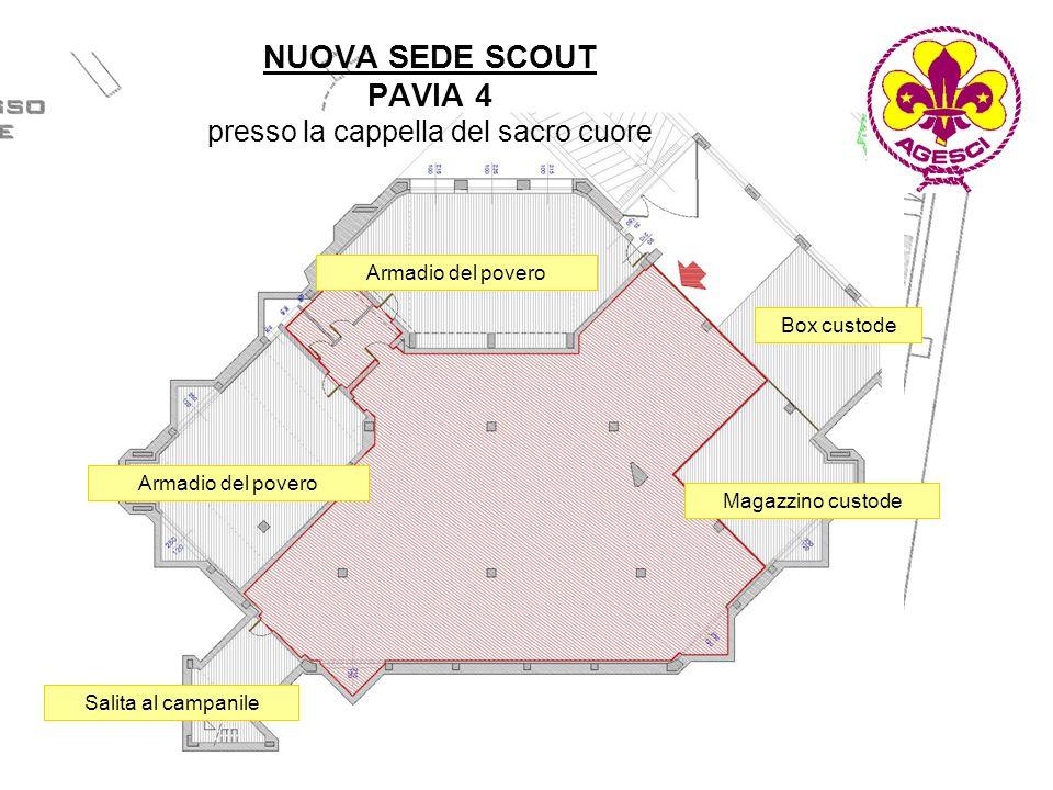Armadio del povero Magazzino custode Box custode Salita al campanile NUOVA SEDE SCOUT PAVIA 4 presso la cappella del sacro cuore