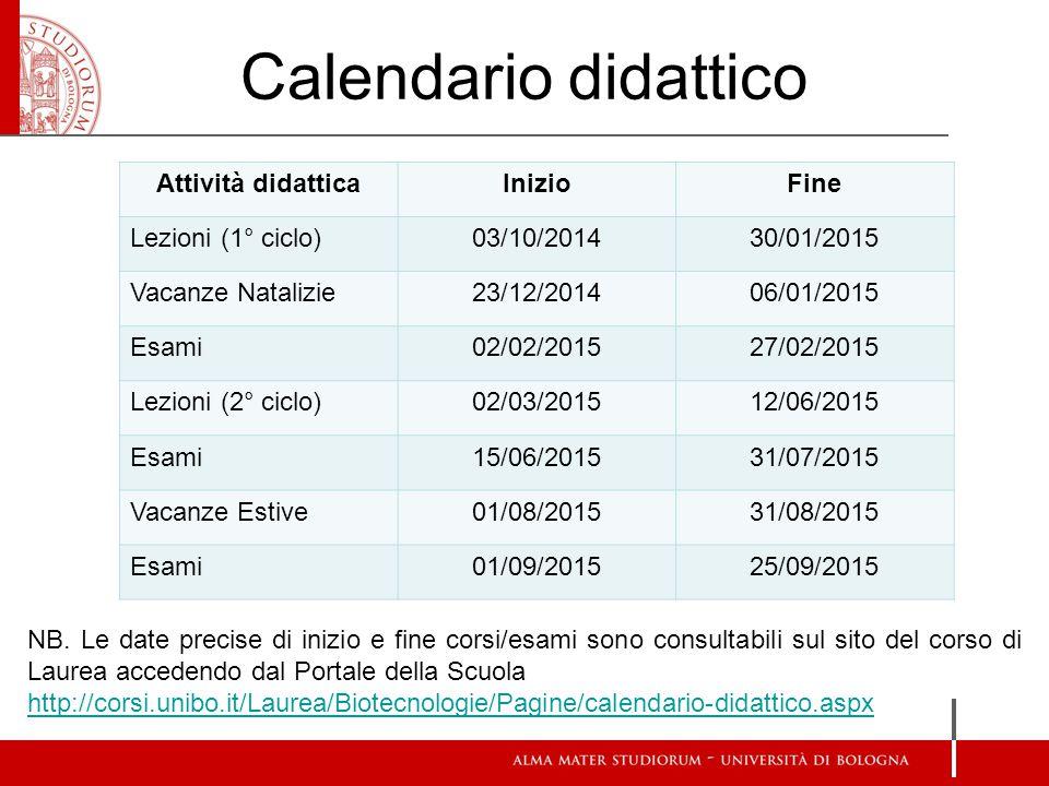 Calendario didattico NB.
