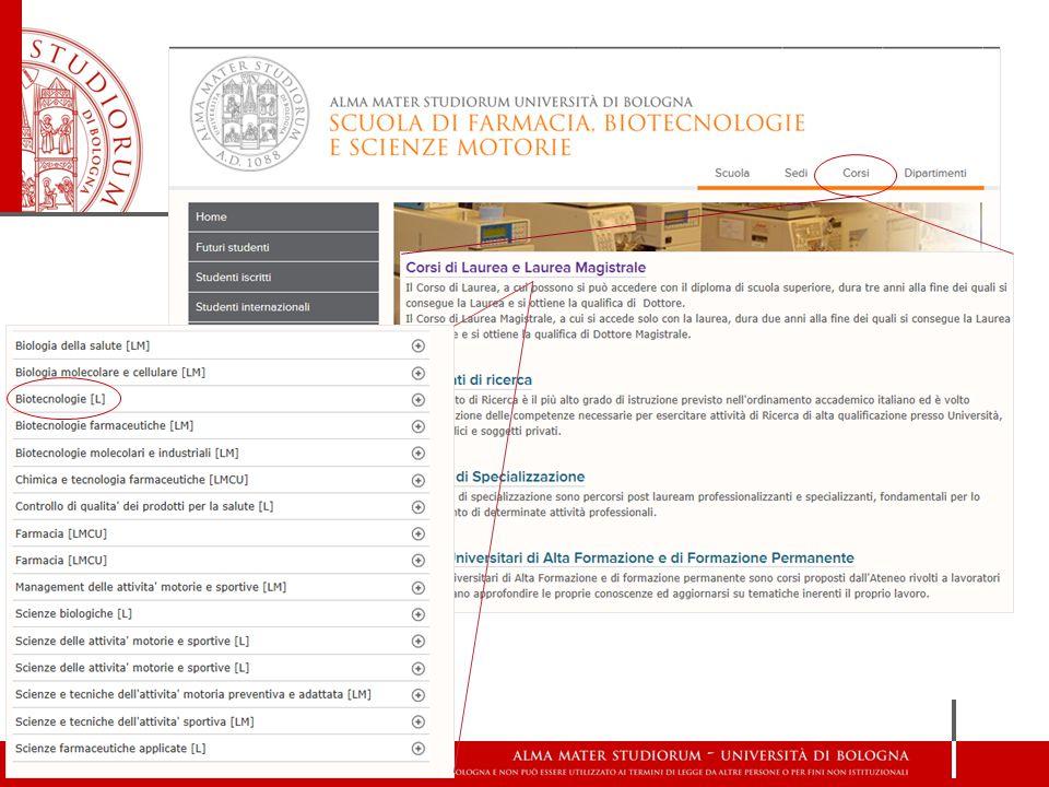 Sito del corso http://corsi.unibo.it/Laurea/Biotecnologie/Pagine/default.aspx