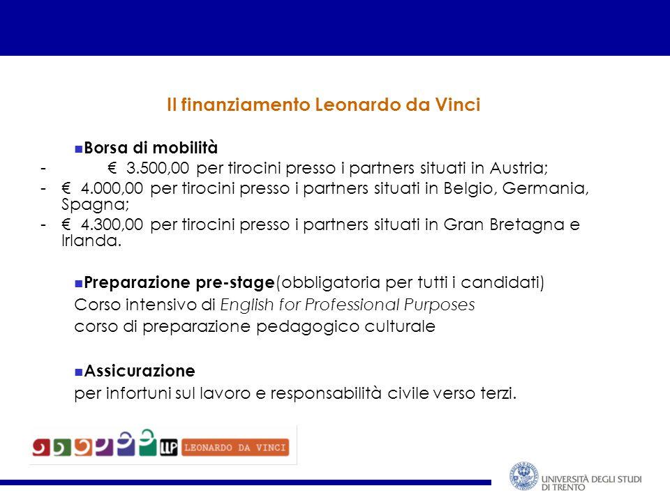 Il finanziamento Leonardo da Vinci Borsa di mobilità - € 3.500,00 per tirocini presso i partners situati in Austria; -€ 4.000,00 per tirocini presso i partners situati in Belgio, Germania, Spagna; -€ 4.300,00 per tirocini presso i partners situati in Gran Bretagna e Irlanda.