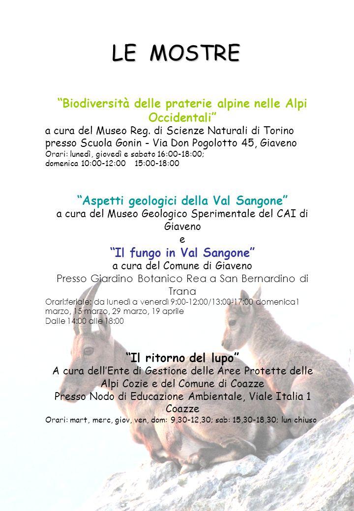 """""""Biodiversità delle praterie alpine nelle Alpi Occidentali"""" a cura del Museo Reg. di Scienze Naturali di Torino presso Scuola Gonin - Via Don Pogolott"""