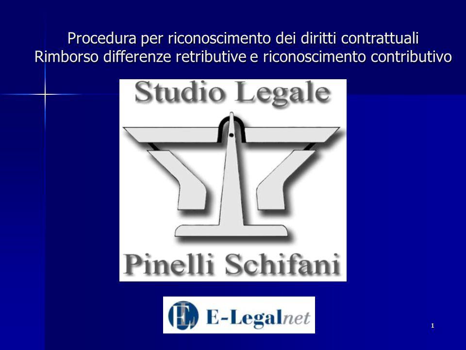 1 Procedura per riconoscimento dei diritti contrattuali Rimborso differenze retributive e riconoscimento contributivo