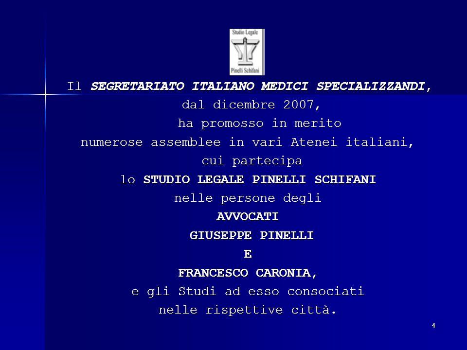 4 Il SEGRETARIATO ITALIANO MEDICI SPECIALIZZANDI, Il SEGRETARIATO ITALIANO MEDICI SPECIALIZZANDI, dal dicembre 2007, dal dicembre 2007, ha promosso in