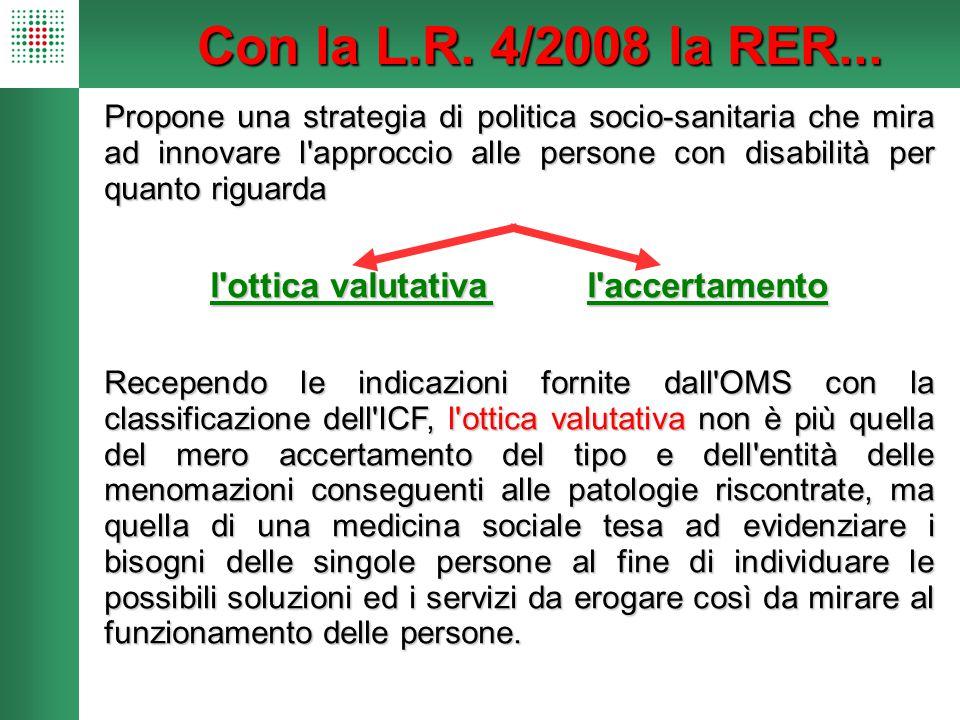 Con la L.R. 4/2008 la RER... Propone una strategia di politica socio-sanitaria che mira ad innovare l'approccio alle persone con disabilità per quanto