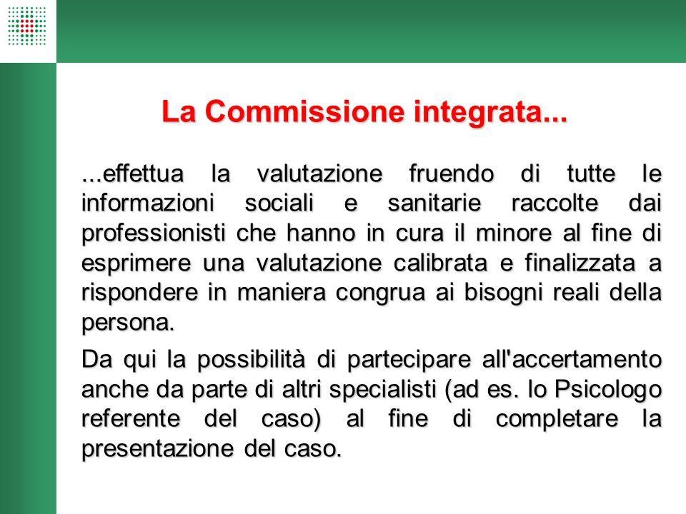 La Commissione integrata......effettua la valutazione fruendo di tutte le informazioni sociali e sanitarie raccolte dai professionisti che hanno in cu