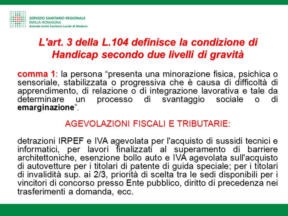 """L'art. 3 della L.104 definisce la condizione di Handicap secondo due livelli di gravità comma 1: la persona """"presenta una minorazione fisica, psichica"""