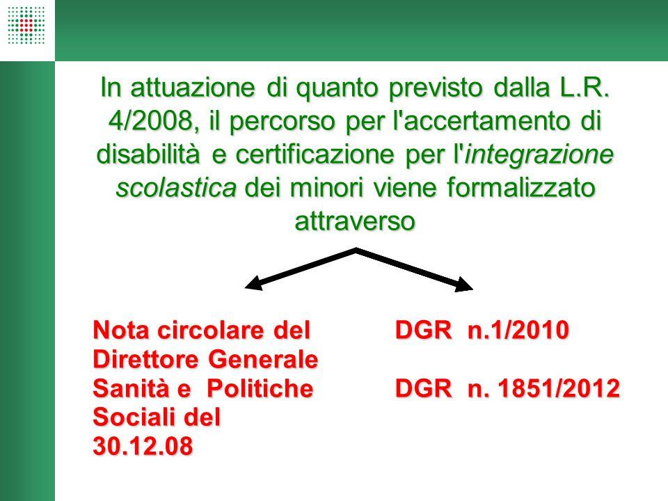 In attuazione di quanto previsto dalla L.R. 4/2008, il percorso per l'accertamento di disabilità e certificazione per l'integrazione scolastica dei mi