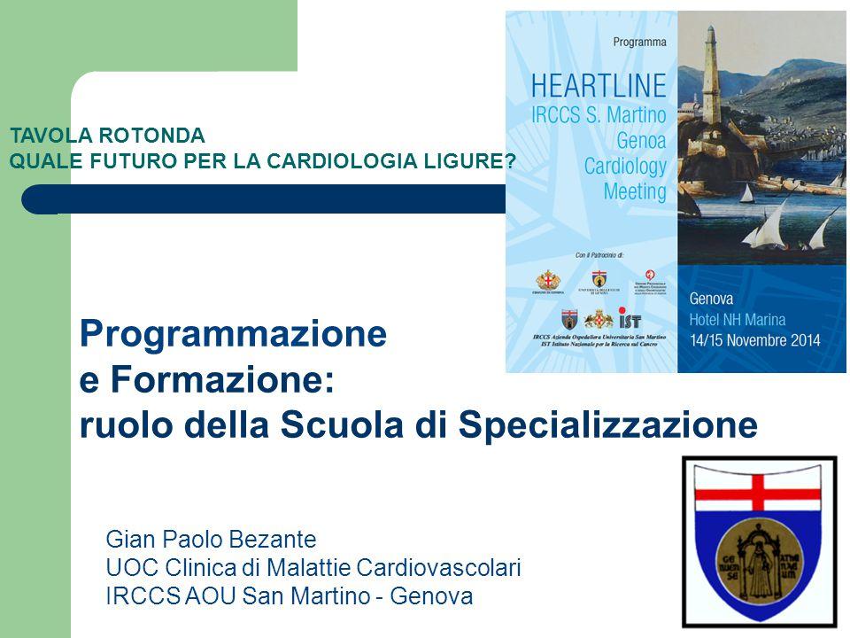 Gian Paolo Bezante UOC Clinica di Malattie Cardiovascolari IRCCS AOU San Martino - Genova Programmazione e Formazione: ruolo della Scuola di Specializzazione TAVOLA ROTONDA QUALE FUTURO PER LA CARDIOLOGIA LIGURE